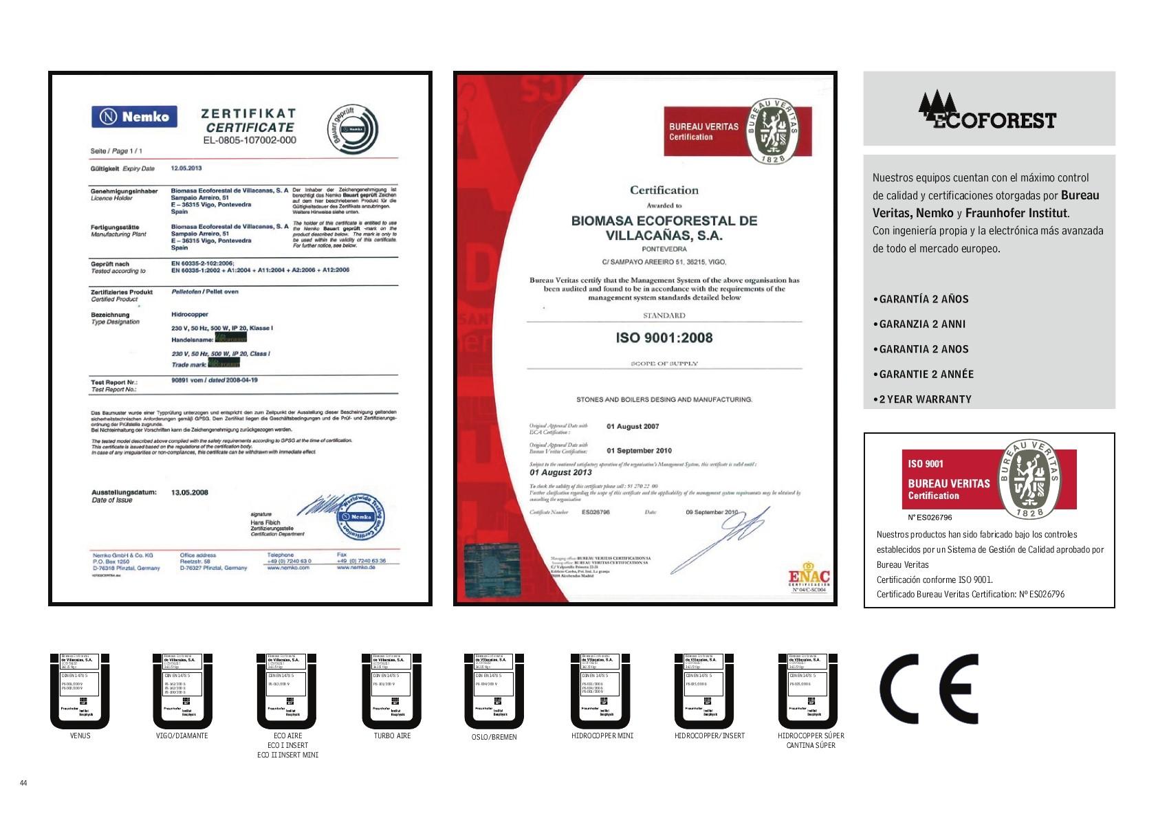 Certificações Ecoforest- Ecoforest normas e certificacoes